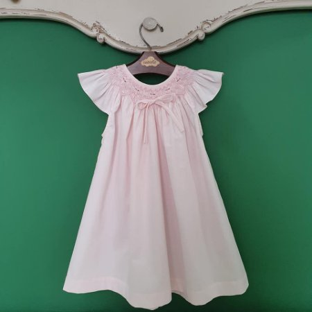 Vestido bata infantil bordado fustão rosa