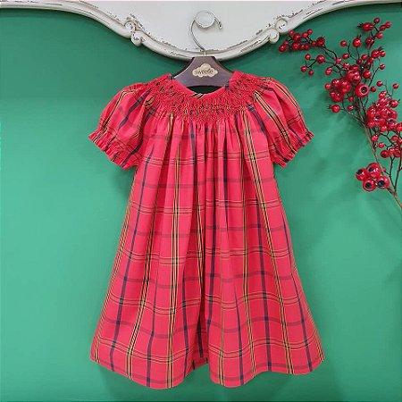 Vestido bata bordado Infantil Xadrez natal
