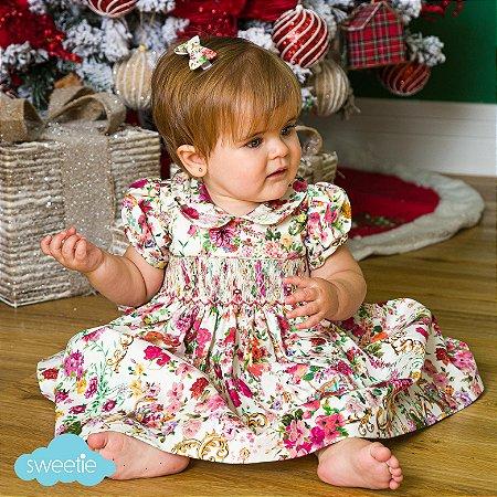 Vestido Bordado bebe estampa Floral Rosa