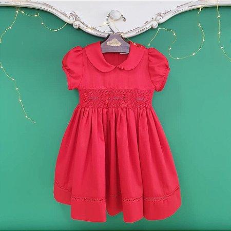 Vestido bordado infantil fustão vermelho