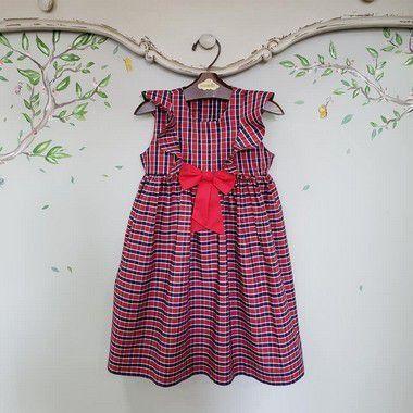 Vestido infantil Verona estampa Xadrez Natal
