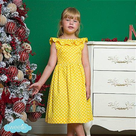 Vestido infantil babado V bolas amarelo