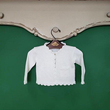 Bolero bebê branco bolso