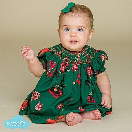 Conjunto Batinha Bordado Bebê Floral Verde