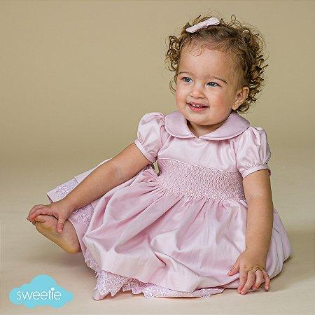 Vestido bordado bebe luxo 400 fios rosa