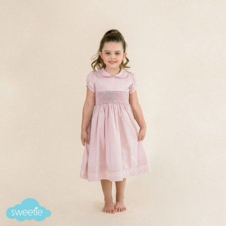 Vestido Bordado Infantil Luxo 400 Fios Rosa