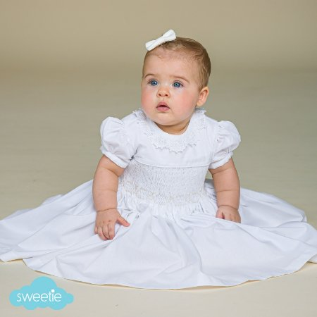 Vestido Bordado Branco Renda Renascença Batizado
