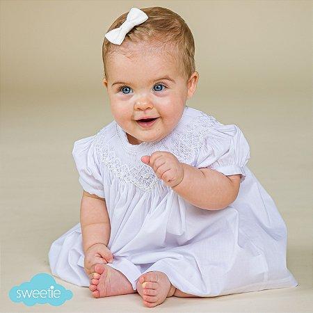 Conjunto Batinha Bordado Bebê Branco
