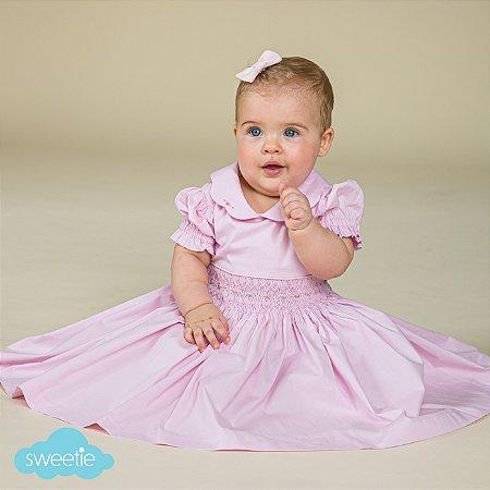 Vestido Bebê Bordado Rosa