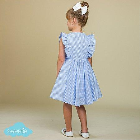 Vestido Infantil Chemise Vichy Azul