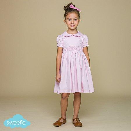 Vestido Infantil Bordado Rosa