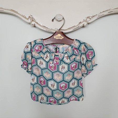 Blusa Bebê Estampada Gatinho
