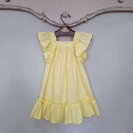 Vestido Bebê Bolonha Amarelo