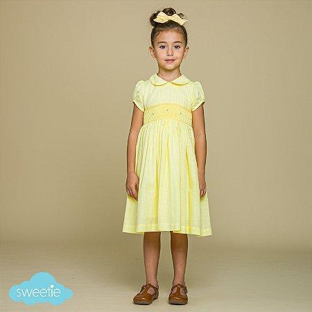 Vestido Bordado Infantil Viscolinho Amarelo