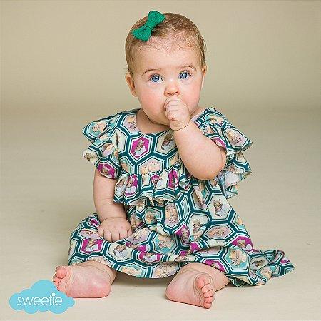 Vestido Bebê Milão Estampado Gatinho