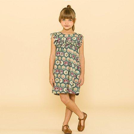 Vestido Infantil Milão Estampado Gatinho