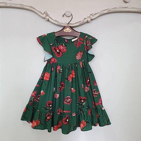 Vestido Bebê Turin Floral Verde