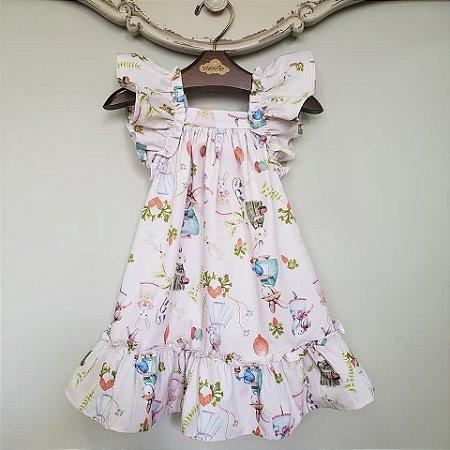 Vestido Bebê Bolonha Bichinhos Páscoa