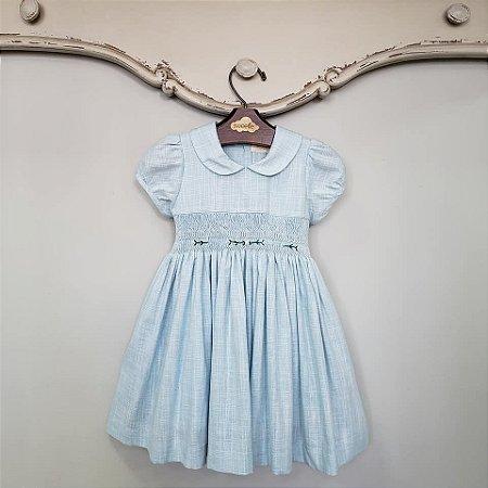 Vestido Bordado Infantil Viscolinho Azul