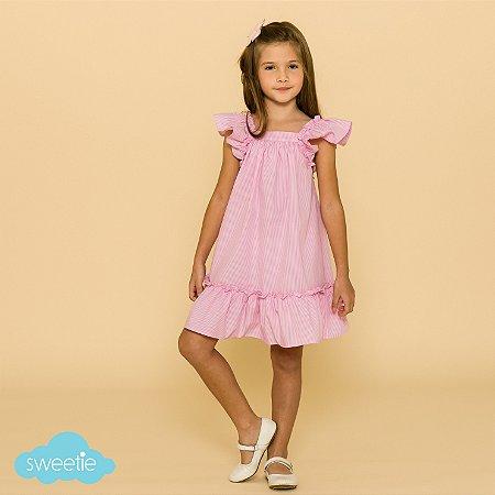 Vestido Infantil Bolonha Listras Rosa