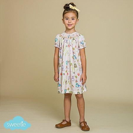 Vestido Bata Bordado Infantil Bichinhos Páscoa