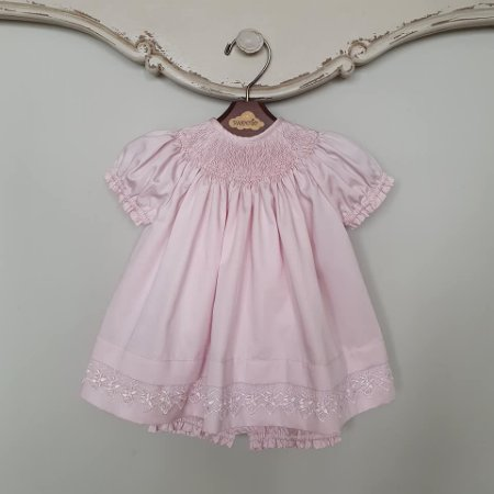 Conjunto Batinha Bordado Bebê Luxo Rosé