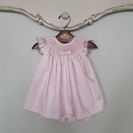 Conjunto Batinha Bordado Bebê Laço Chanel Rosé