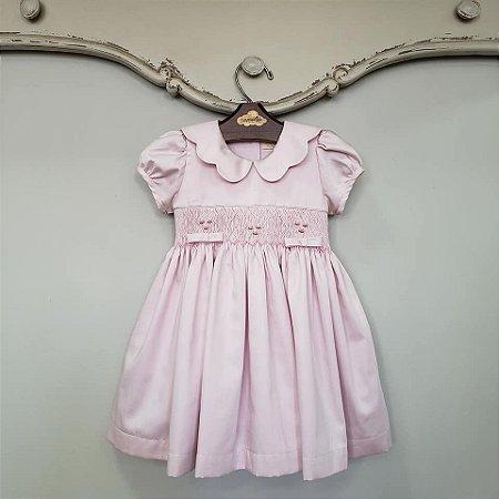 Vestido Bordado Bebê Gola Matame Rosé