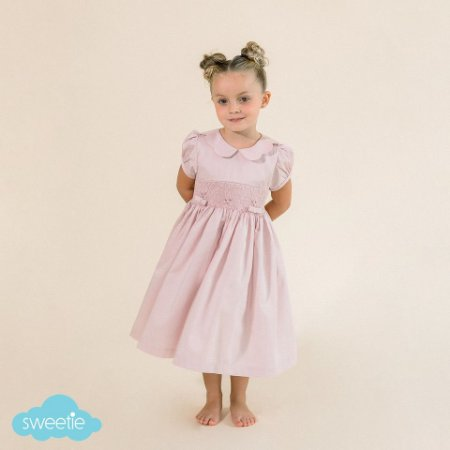 Vestido Bordado Infantil Gola Matame Rosé
