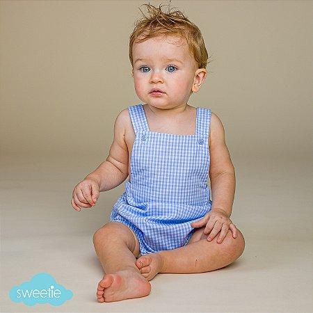 Banho de Sol Bebê Xadrez Vichy Azul