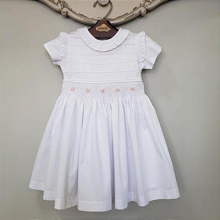Vestido Bordado Bebê Jasmim Branco