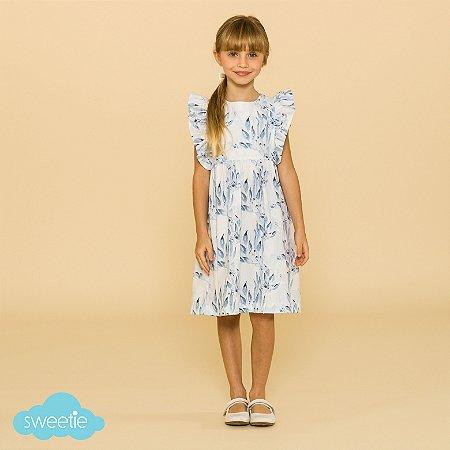Vestido Infantil Capri Folhagem Azul