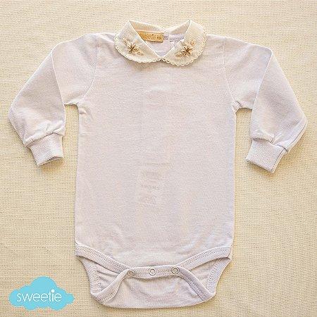 Body Bebê Branco Gola Cru Picueta
