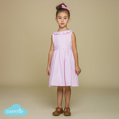Vestido Infantil Gola Prega Rosa