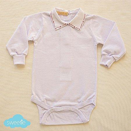 Body Bebê Branco Gola Flick Vermelha