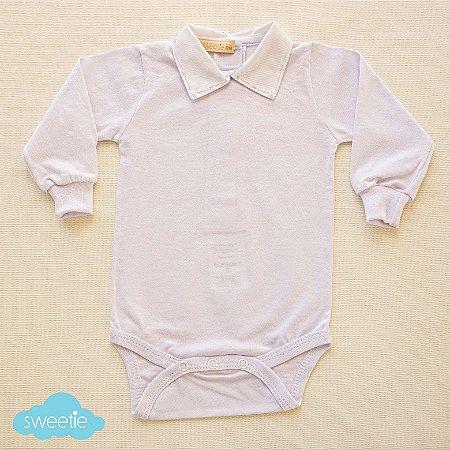 Body Bebê Branco Gola Flick Azul