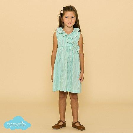 Vestido Infantil Amarilis Verde Piscina DEF