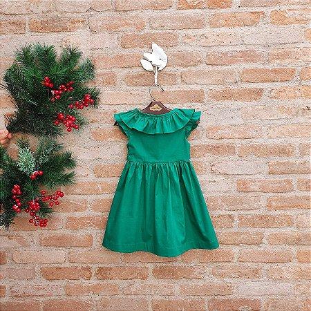 Vestido Infantil Manguinha Babado Verde