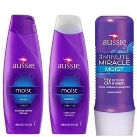 Kit Aussie - Shampoo 400ml + Condicionador 400ml + Máscara 3 Minute Miracle 236ml (Moist)