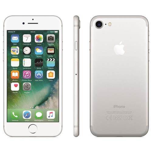 iPhone 7 Apple 32GB/128GB,/256GB com Tela Retina HD de 4,7, 3D Touch, iOS 10, Touch ID, Câmera 12MP, Resistente a Água e Sistema de Alto-Falantes Estéreo – Prateado
