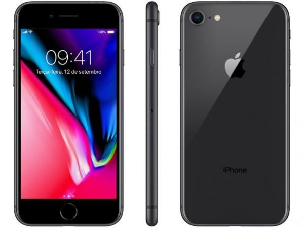 "iPhone 8 Apple com 64Gb/256Gb, Tela Retina HD de 4,7"", iOS 11, Câmera de 12 MP, Resistente à Água, Wi-Fi, 4G - Preto"