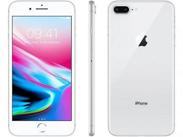 """iPhone 8 Apple Plus com 64GB/ 256Gb Tela Retina HD de 5,5"""", iOS 11, Dupla Câmera Traseira, Resistente à Água, Wi-Fi, 4G LTE - Prateado"""