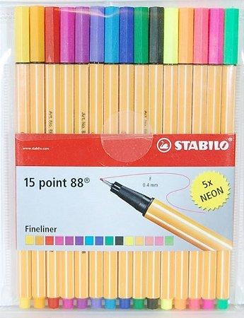 Caneta Stabilo Point 88 15 cores