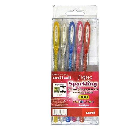 Conjunto UniBall Signo Sparkling 5 cores