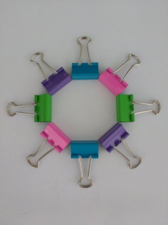 Kit Clips Binder Coloridos 25mm - 8 unid.