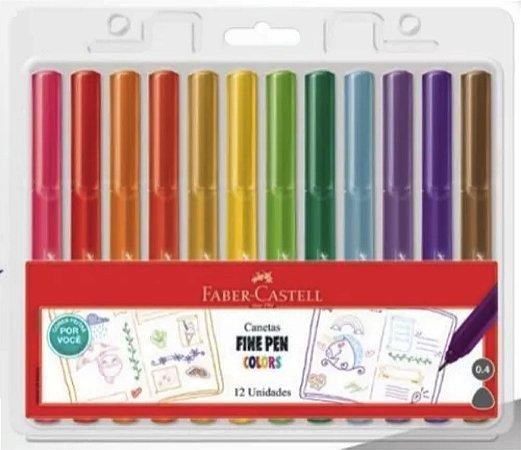 Conjunto Canetas Fine Pen Colors Faber Castell - 12 Cores Feitas Por Voce