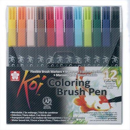 Canetas Ponta Pincel Koi Conjunto 12 cores