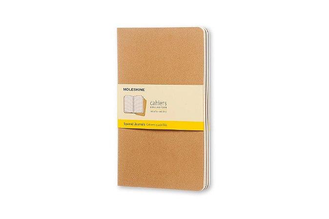 Conjunto 3 Cadernetas Moleskine Cahiers Collection Quadriculado