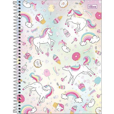 Caderno Universitário Tilibra Blink Unicornio Donut 10 materias
