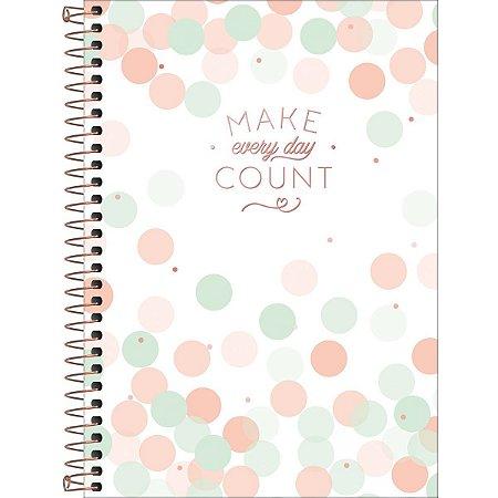 Caderno Tilibra Soho Colegial 1 Materia Make Every Day Count Branco